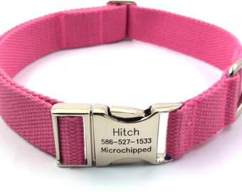 Pink Customized Canvas Dog Collar  Engraved Buckle Name Address Phone Number Personalized