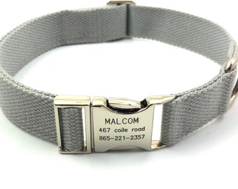 Gray Customized Dog Collar  Engraved Buckle Name Address Phone Number Personalized Adjustable Canvas