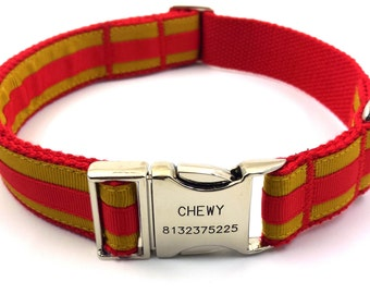 Personalized Dog Collar Layered Stripe Customized Engraved Name Buckle Red/ Golden