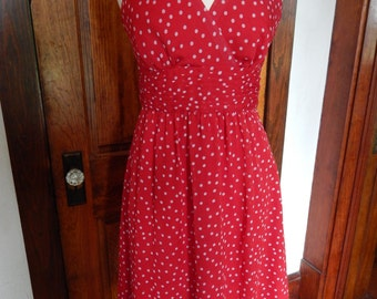 Red A-line 1950's inspired dress