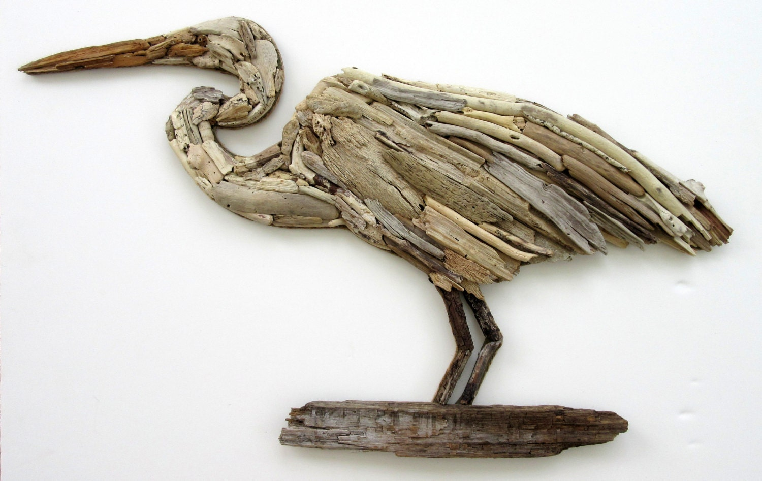 Coastal Wall Decor: Driftwood Heron Coastal Wall Decor
