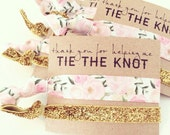 Hair Tie Bridesmaid Gift // Pink Floral  + Gold Glitter Elastic Hair Tie Bracelet, Light Pink Floral Hair Tie Bridal Shower Favors