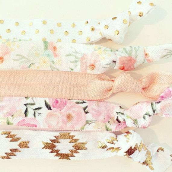 Bohemian Floral Hair Tie Set | Rose Pink, White, Gold  + Peach Floral Creaseless Elastic Hair Ties, Boho Aztec Watercolor Floral Hair Ties