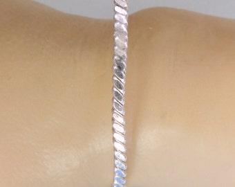 Woven Sterling Silver Bangle Bracelet