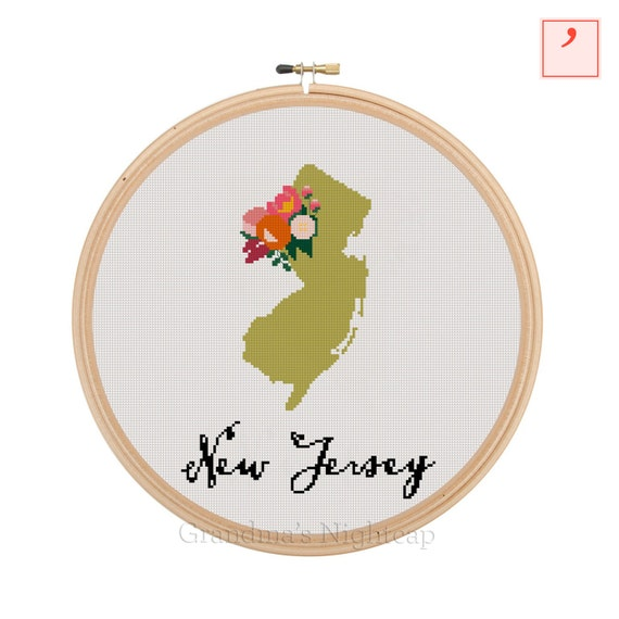New jersey cross stitch pattern modern