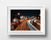Small Sizes - DIRECTION - Photography, Exposure, Lights, Print, Art, Design, Road, City, Night, Sky, Lines, Gift, Present, Synthesis