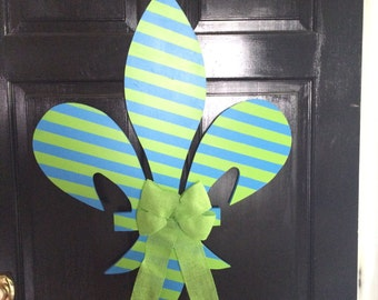 Handmade Blue and Green Fleur De Lis Wreath