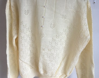 Vintage Retro Pale Yellow Knitted Jumper With Pearl Button Detail