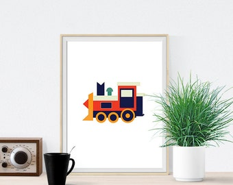 Train Engine Art Print Poster Decor for Birthday party gifts - Nursery - Baby Boys Room