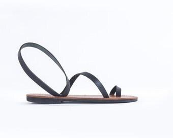 Black strap-Genuine Greek Leather Sandal - Gaia-