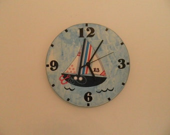 Sailing boat clock. Modern clock. Hall Lobby Boy room Quiet clock. German clockwork. White Blue Black , Housewares, office wall clock