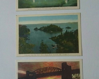 Three Vintage Postcards With Scenes of Vancouver