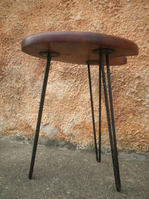 Vintage artist s palette table hairpin legs mid century for Table haute palette