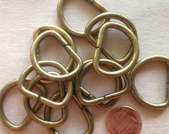 "Lot of 12 Brass Tone Metal D-rings 1 3/16"" 30mm # 7198"