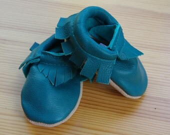 Teal Genuine Leather Baby Moccasin  Toddler Moccasin size 7-9 Toddlers Children's shoes