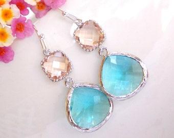Wedding Jewelry, Aquamarine and Peach Earrings, Silver, Aqua Blue and Peach, Blue Peach, Bridesmaid Gifts, Bridesmaid Jewelry,Dangle,D