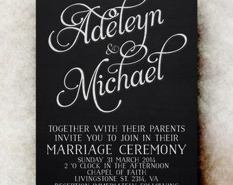 Blackboard Wedding Invitation  -  Black white Wedding Invitation,  whimsical wedding invitation,  printable wedding invitation