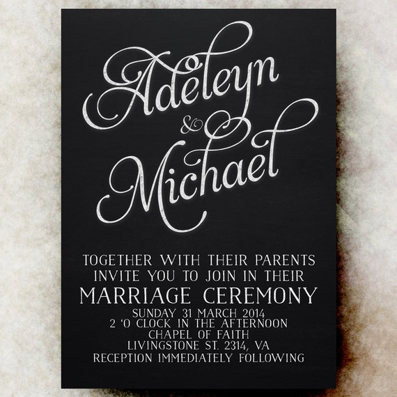 Blackboard Wedding Invitations