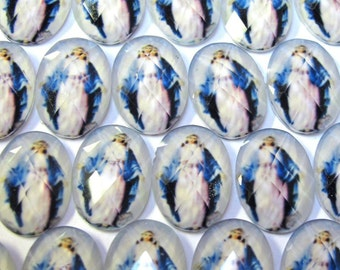 Faceted cabochon virgin Mary 18x13 mm 10 pcs CABM078A