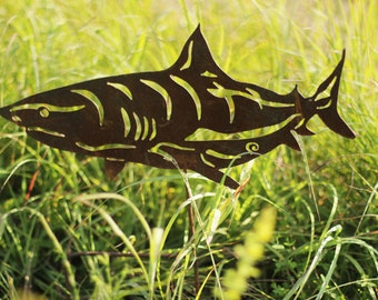 Outdoor Garden Art - Natural Steel - Garden Art - Shark Garden Stake