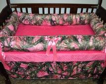 Pink Camo Crib Set, Crib Bedding, Camo Bedding, True Timber Bedding, Pink True Timber Crib Bedding, Camo Crib Set, Custom Crib Bedding