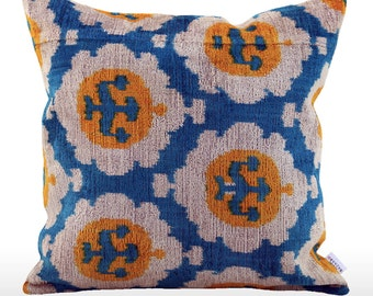 Velvet Ikat Pillow: Anchor