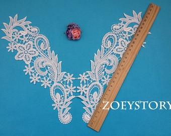 Collar Lace Applique, Lace Collar, Flower Lace Applique, 1 Mirror Pair (A003)