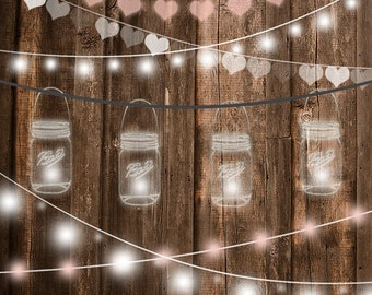 String lights clipart, wedding invitation, party lights clipart, Mason jar string lights clipart, rustic wedding clipart, No credit required