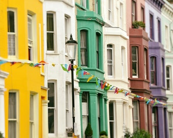 London Photography, Notting Hill, Colorful Houses, Fine Art Print, Travel Photo, Home Decor, Architecture, yellow, green, purple