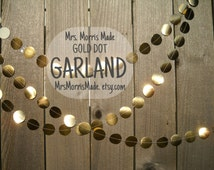 GOLD GARLAND - gold bunting, gold circle garland, gold bunting, gold foil garland, golden garland, gold and white garland
