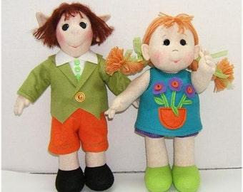 Little Girl and Little Elf ~ Cloth Doll E-Pattern by Judi Ward