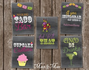 Fiesta Signs, I'd Hit That Pinata, Cupcake Cantina, Walking Taco Bar Directions, Fiesta Instagram, Cinco De Drinko, Fiesta Party, Digital