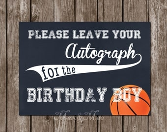 Please Leave Your Autograph Sign, Basketball Theme Party, Sport Decorations, Digital, Printable