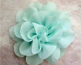 Chiffon flower, large flower, mint flower, lace flower, flower puff, flower supplies, DIY supplies, aqua
