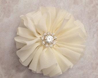 Ivory Ballerina flower, chiffon flower, rhinestone flower, fabric flower, headband flower, supply flower, ballerina flower, ballerina flower