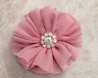 Dusty pink Ballerina flower, chiffon flower, rhinestone flower, fabric flower, headband flower, supply flower, ballerina flower, ballerina