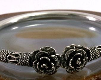 Flower,bangle, 925 sterling silver