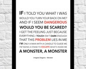 Imagine Dragons - Monster - Lyrical Song Art Poster - A4 Size