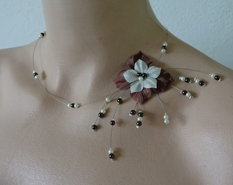 hand made necklace brown ivory silk wedding gala ball of fine d year
