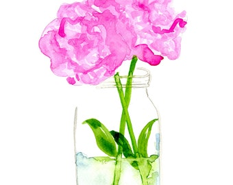 Peonies in a Mason Jar Watercolor - Archival Print