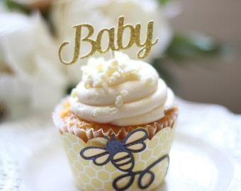 Custom Glittered Name or Number Cupcake Topper (Set of 12)