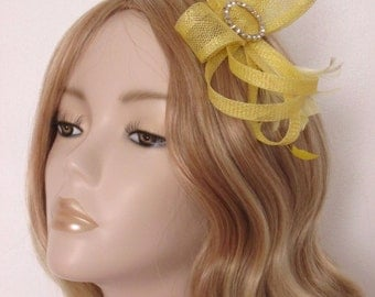 YELLOW SINAMAY FASCINATOR,  with crystal detail, Feathers,on a 3mm silver headband