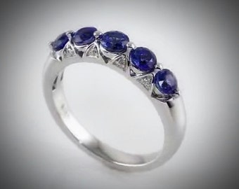 14kt White Gold Vintage Style Ceylon Blue Sapphire & .03 CTW Diamond Ring, Anniversay Band, September Birthstone US Size 7