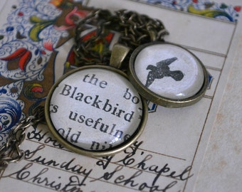 Blackbird, Double Pendant Necklace, Optional personalisation- choose your own words! Antique gold, bird, spring necklace