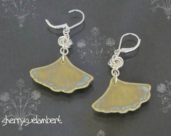 Ginko Earrings Ceramic and Sterling Silver