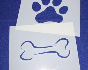 """2 Piece Large Dog Bone Paw Print Set  8"""" x 10"""" - Stencil-  14 Mil Mylar"""