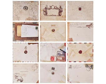 Mini Vintage Style Envelopes 12 Pack