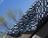 Nankeen Indigo Fabric by the Yard, Hand Stenciled on 100% Cotton Fabric, Blue/white, Navy