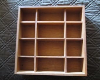 Vintage--Wall Hanging Shadow Box--Shadow Box--Wooden--Square--Rectangle-Sectioned--Wall Hanging--Cherry--Display Case