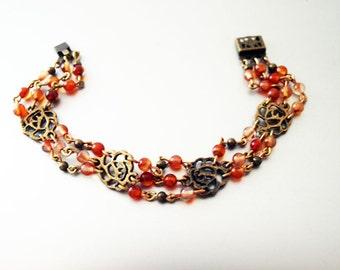 Flower Bracelet // Bracelet / Gemstone Bracelet / Carnelian Bracelet / Handmade Bracelet / Handmade Jewelry / Unique Bracelet / Accessories